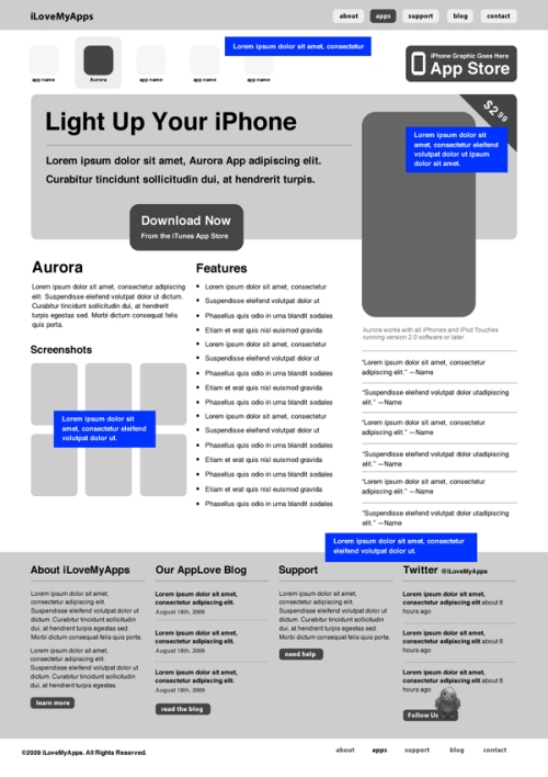 Build a Professional iPhone App Website Wireframe in Fireworks