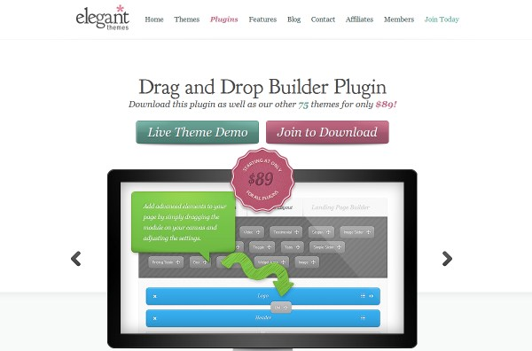 Drag and Drop Builder Plugin from Elegant Themes