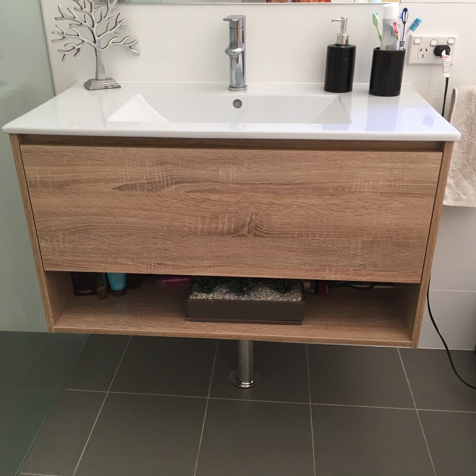 1200mm Bathroom Vanity Eden 1200mm White Oak Textured Timber Wood Grain Wall