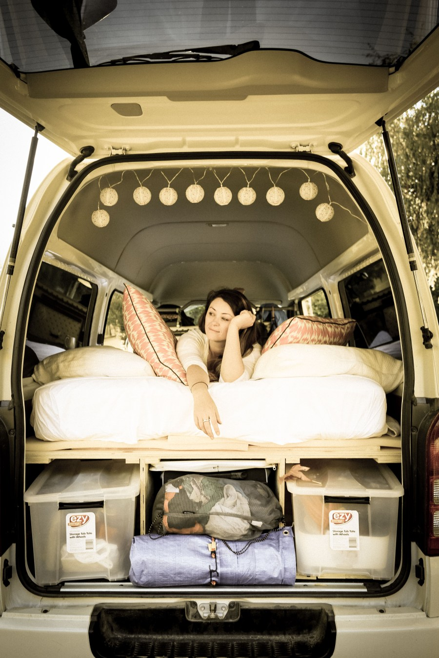 Our temporary campervan bed design for a Toyota Hiace – so you can make it, or make it better ...