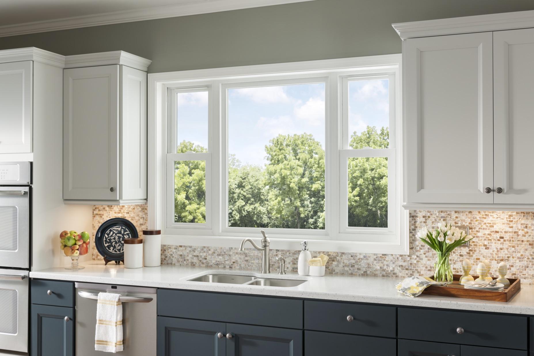 White Kitchen No Windows simonton slider windows