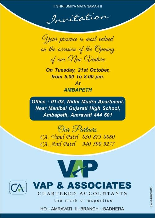Our Office Opening Invitation - VAP  Associates - CA Services