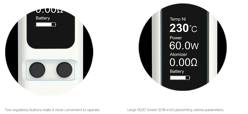 Joyetech Evic VT-Mini Screen/Buttons