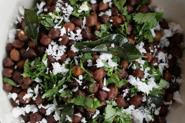 Black chickpeas in a healthy salad, served warm or cold
