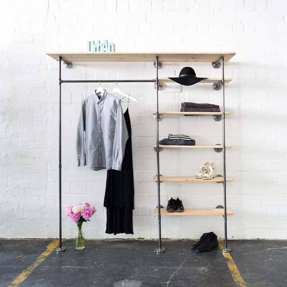 Weinkisten Schrank Industrial Design Open Closet System Clothes Rail Shelve Space High