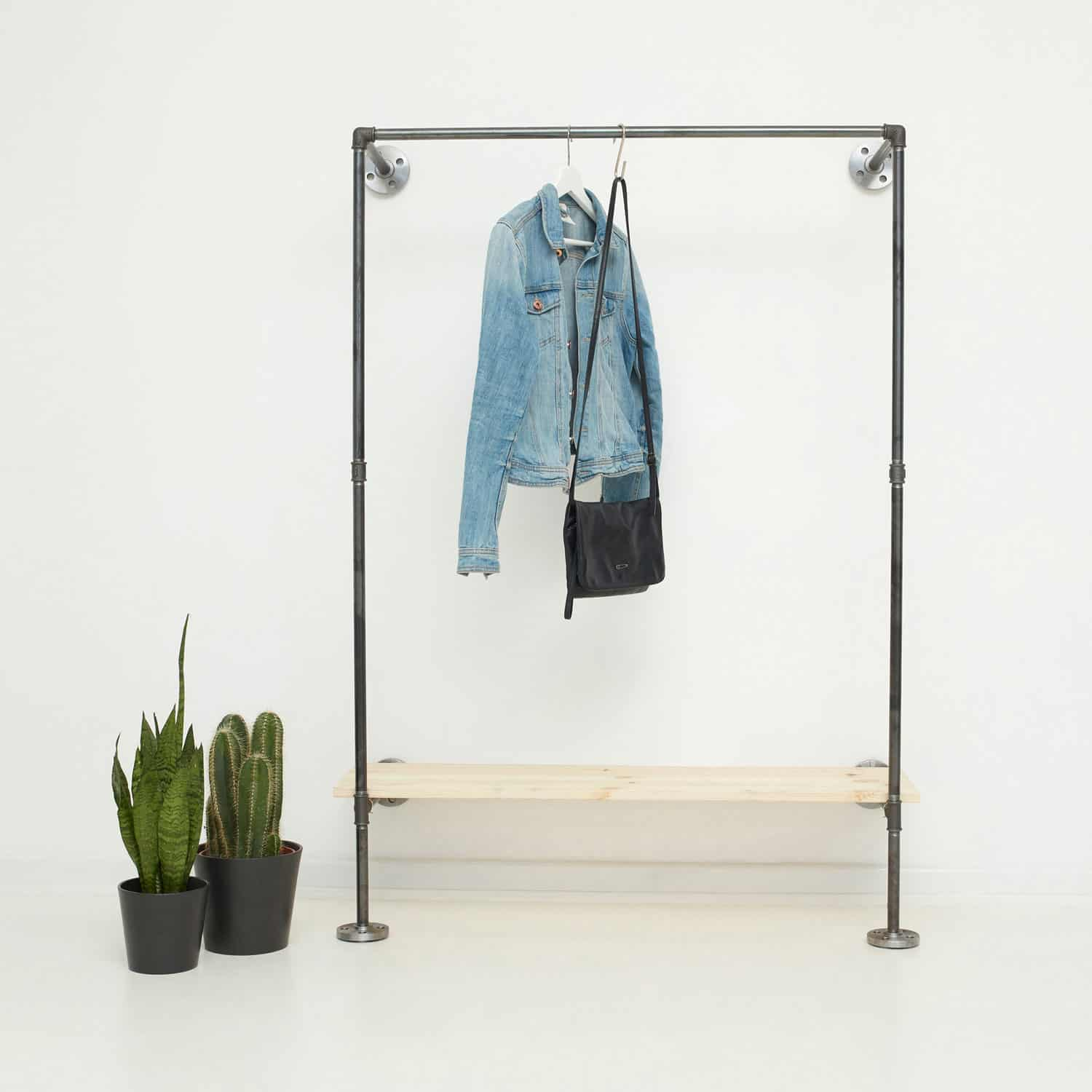 Jacken Garderobe Industrial Garderobe Kombination Kleiderstange Schuhregal Ideal One