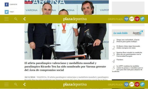 REVISTA DE PRENSA: VALENCIA PLAZA RECOGE EL NOMBRAMIENTO DE RICARDO TEN COMO GERENTE DEL ÁREA DE COMPROMISO DE VARONA