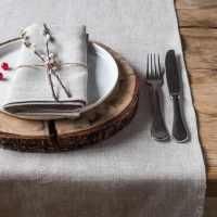 Linen Table Runner Lesna Light Natural