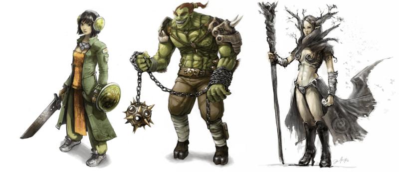 Three fantasy characters.