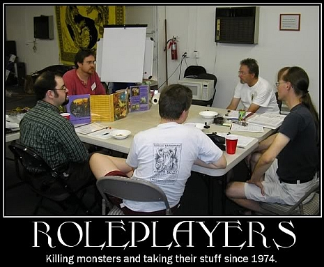 Roleplayers around a table.