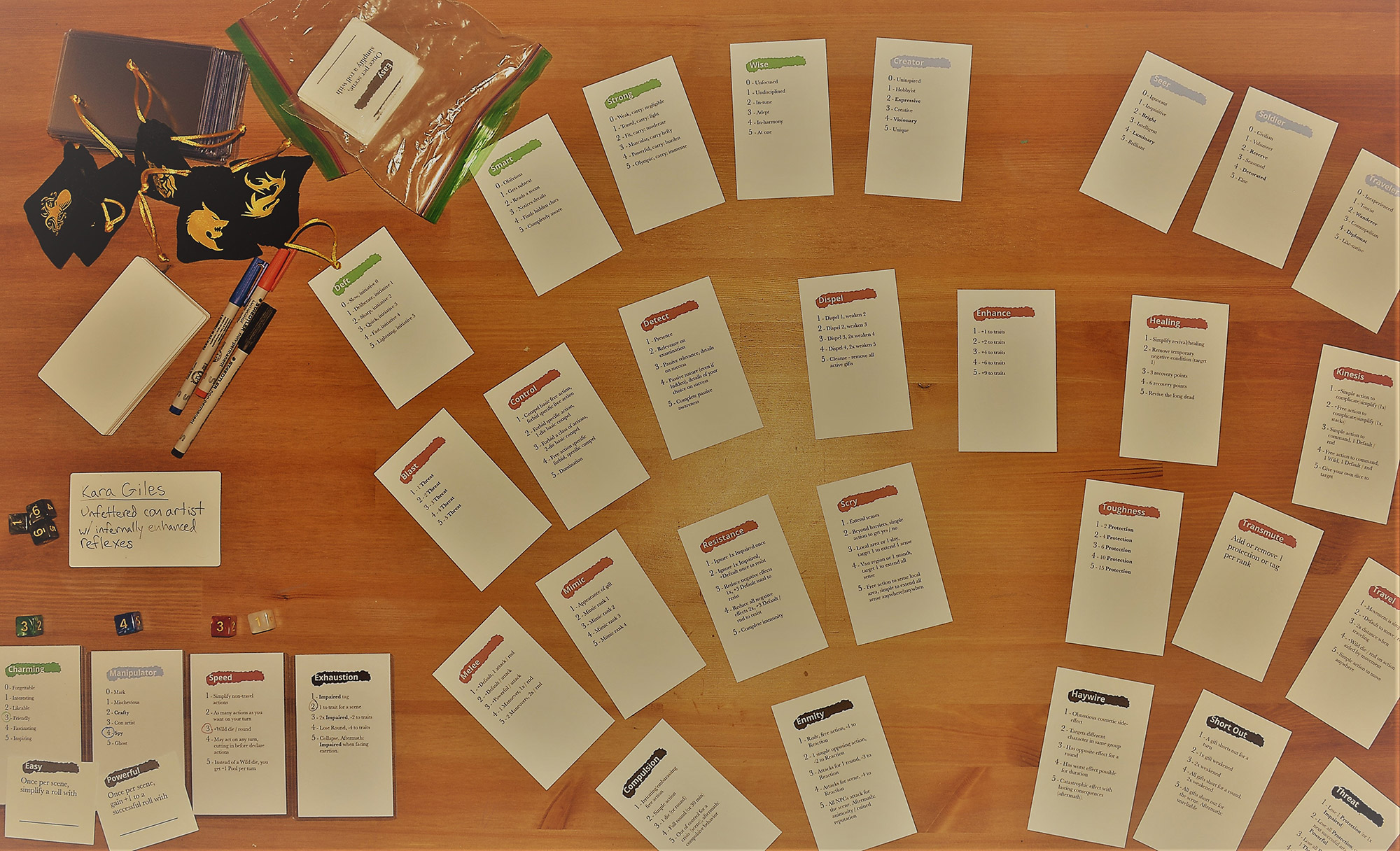 Tox Cards Laid Out on Table