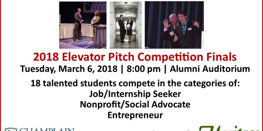 Champlain College Elevator Pitch Competition Tuesday, March 6