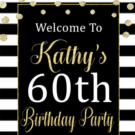 60th Birthday Party Decorations Printable Black And White Welcome