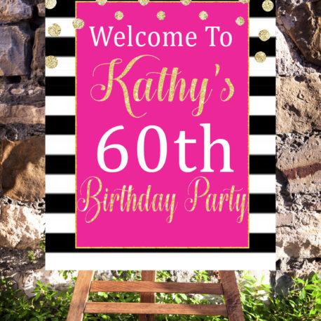 60th Birthday Party Decorations Printable Pink And Black Welcome