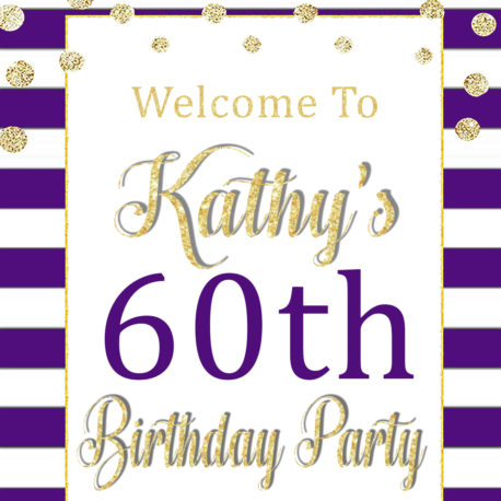 60th Birthday Party Decorations Printable Purple Welcome Sign - VCDiy