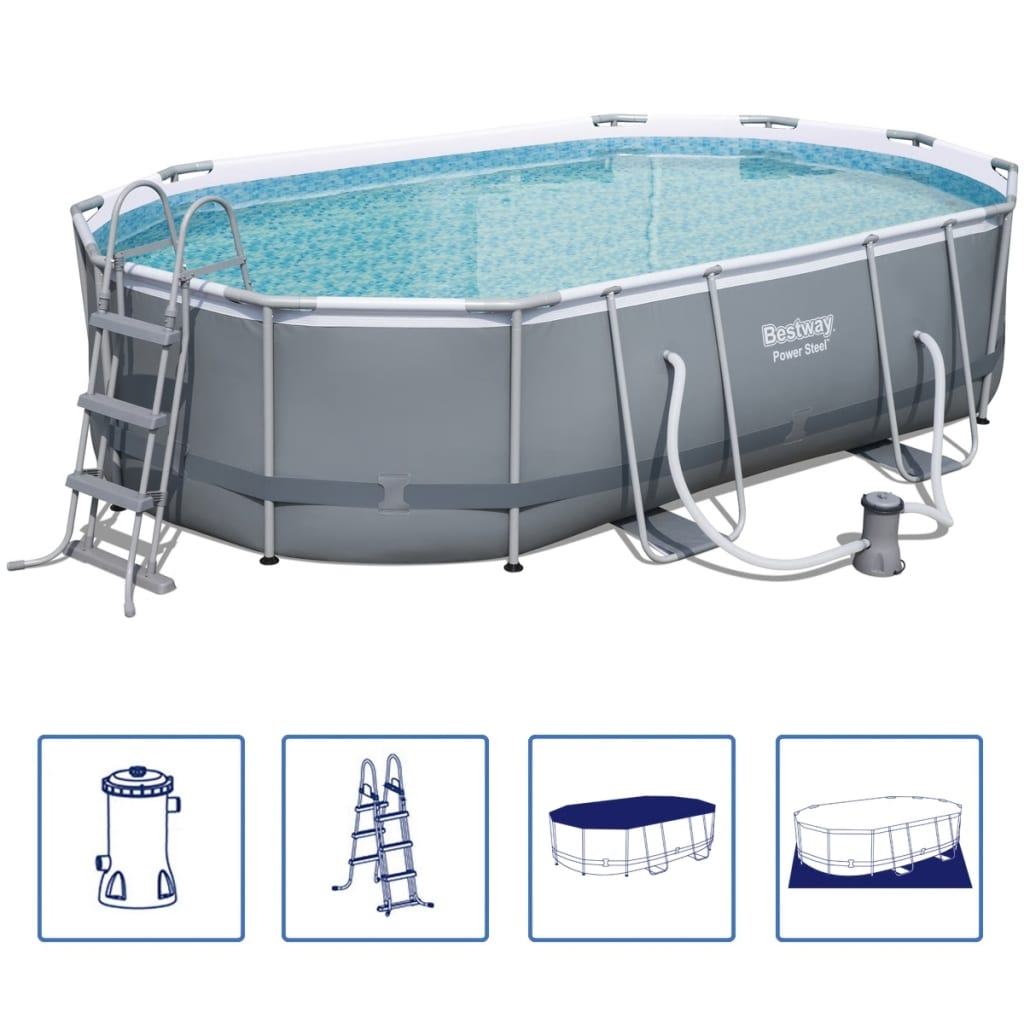 Pool Bodensauger Vidaxl Bestway Power Steel Pool Set Stahlrohrkonstruktion