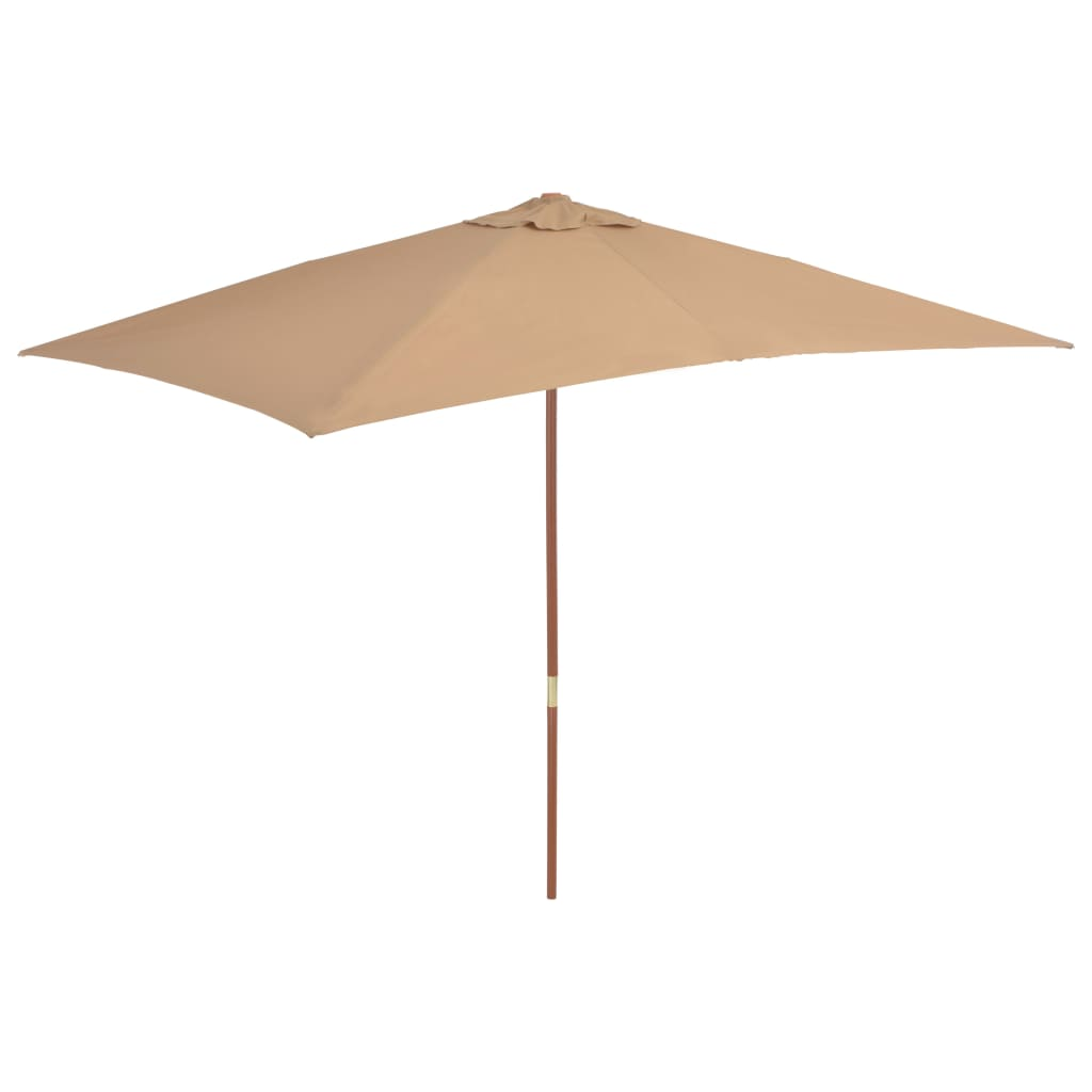 Parasol Taupe Vidaxl Outdoor Parasol With Wooden Pole 200x300 Cm Taupe