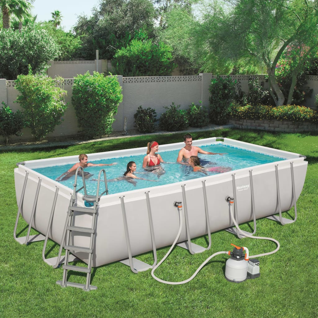 Pool Garten Stabil 9991614 Bestway Power Steel Pool Set Rechteckig 56466
