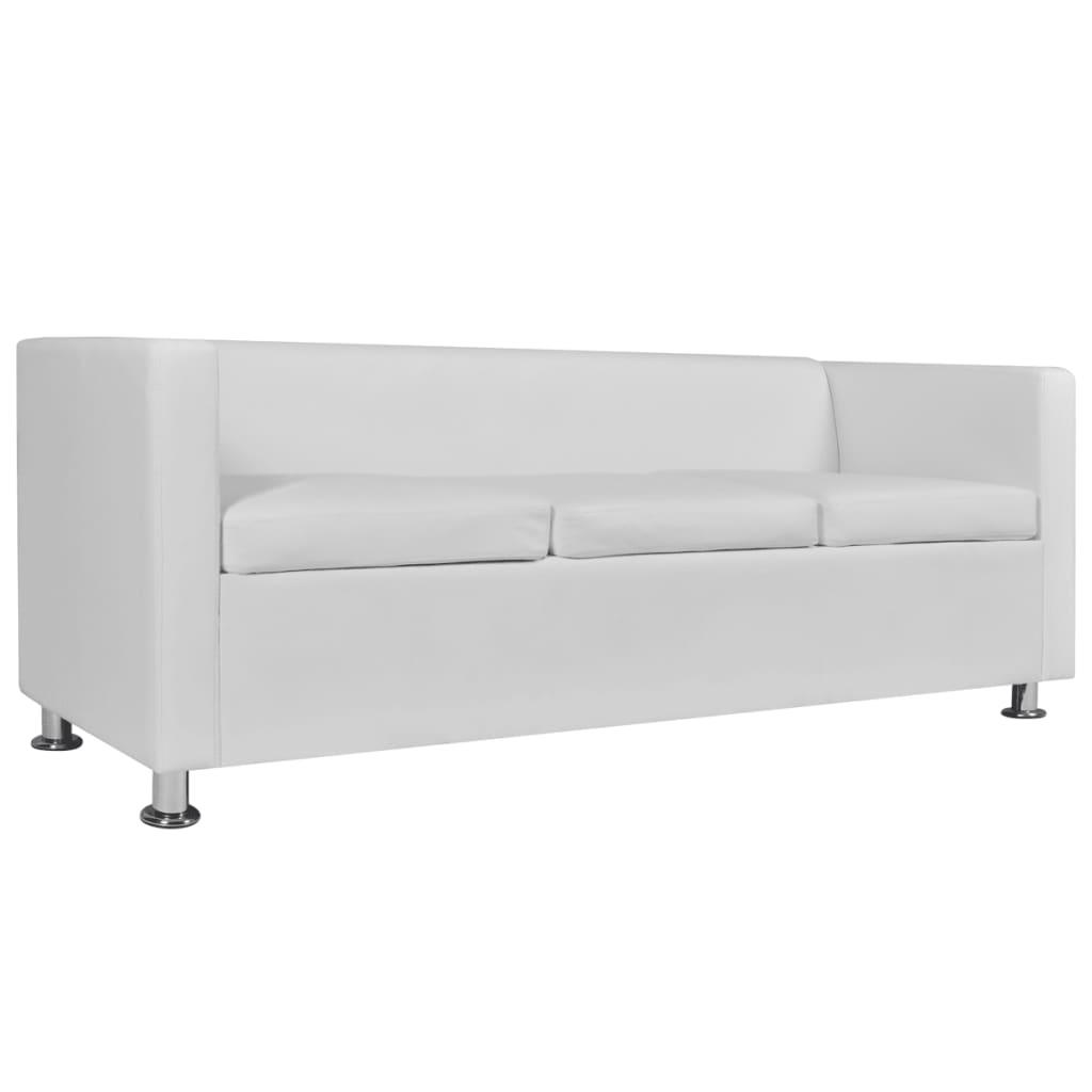 Sofa Couch Or Chesterfield Details About White Artificial Leather Sofa 3 Seater Couch Chesterfield Living Room Seat