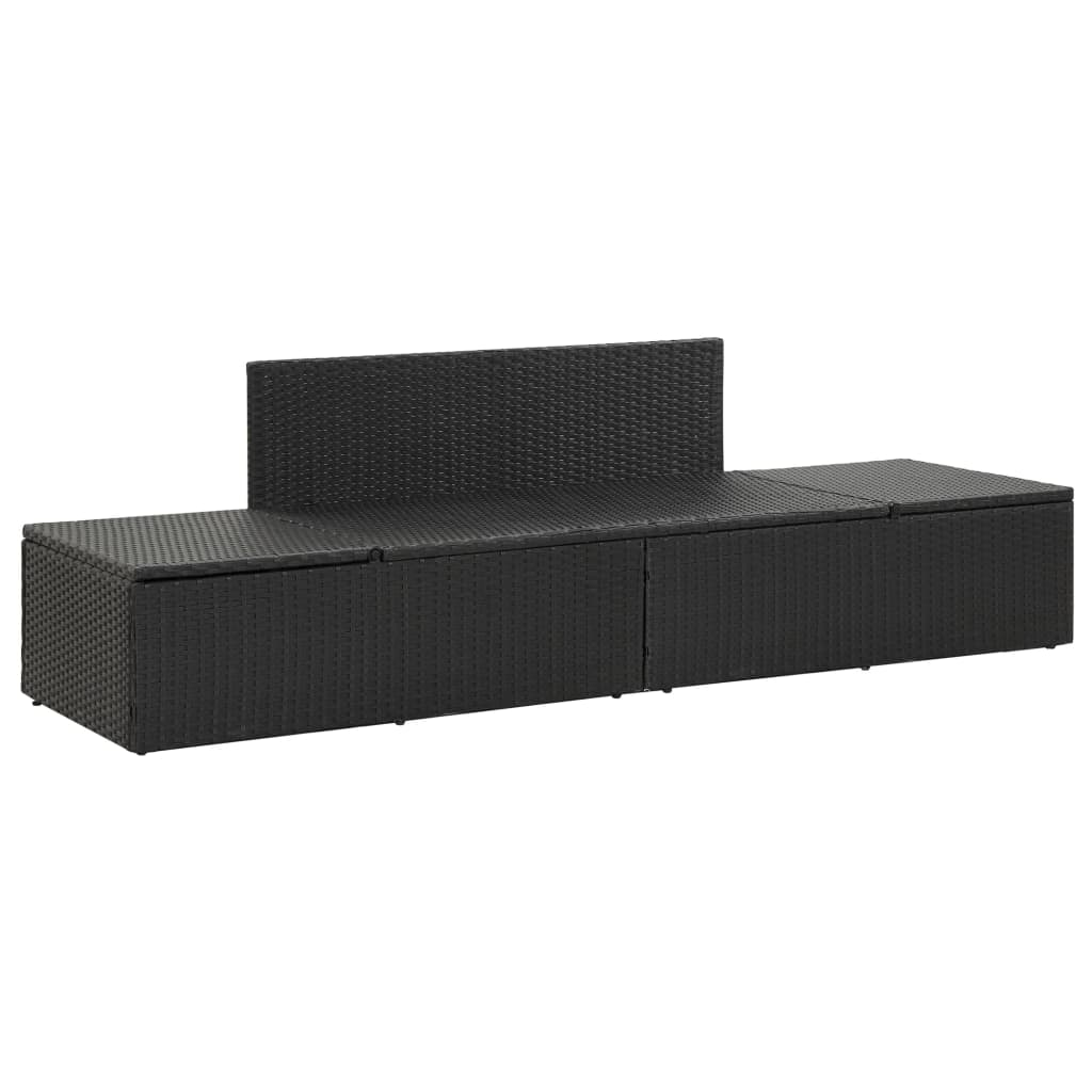 Vidaxl Sun Bed With Cushions Poly Rattan Black Adjustable