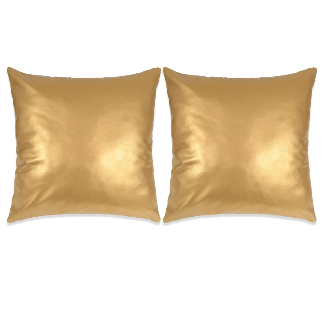 Sofakissen Set Vidaxl Kissen Set 2 Stk Pu 40 X 60 Cm Golden