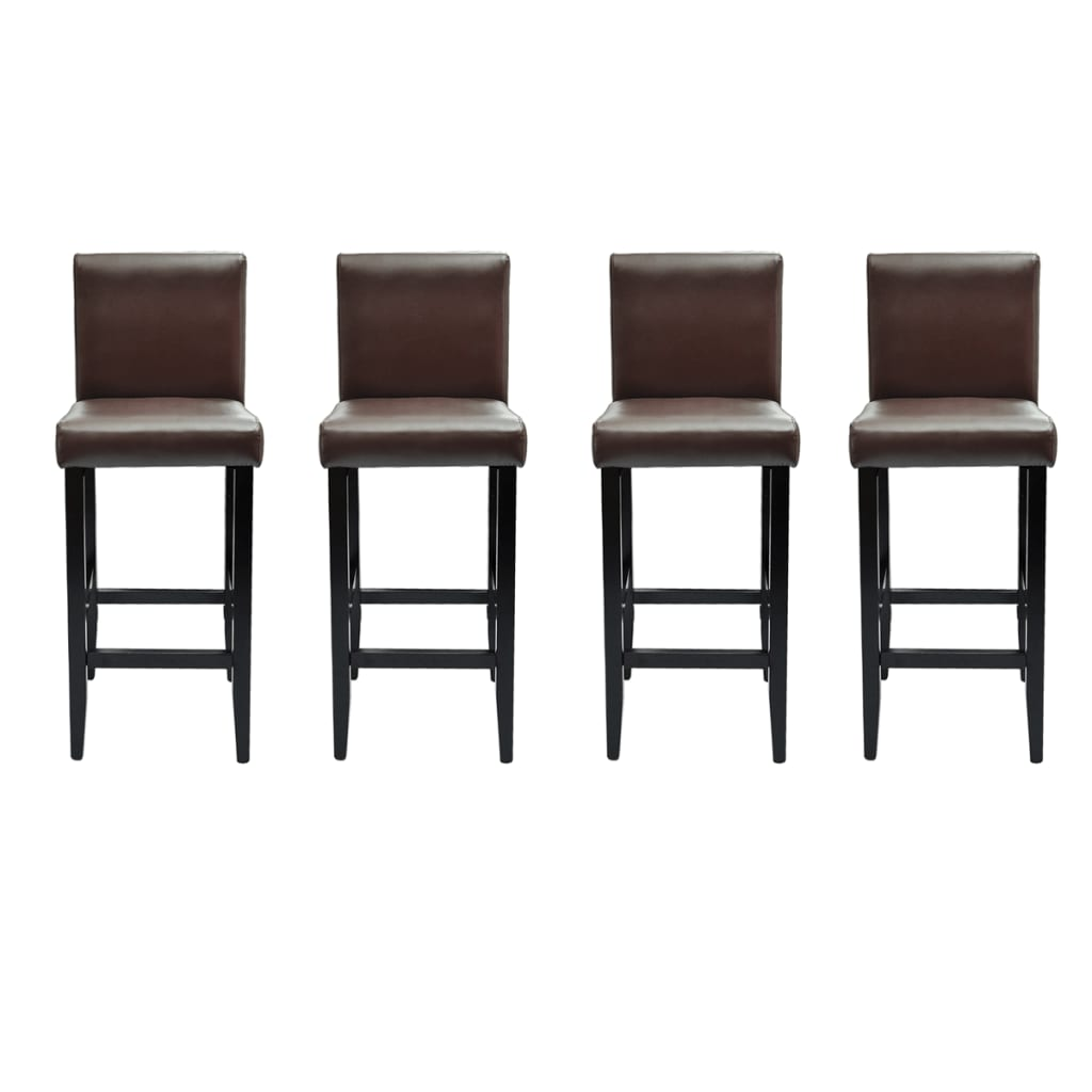 4 Tabourets De Bar Wilton Acheter Lot De 4 Tabourets De Bar Cuir Artificiel Marron
