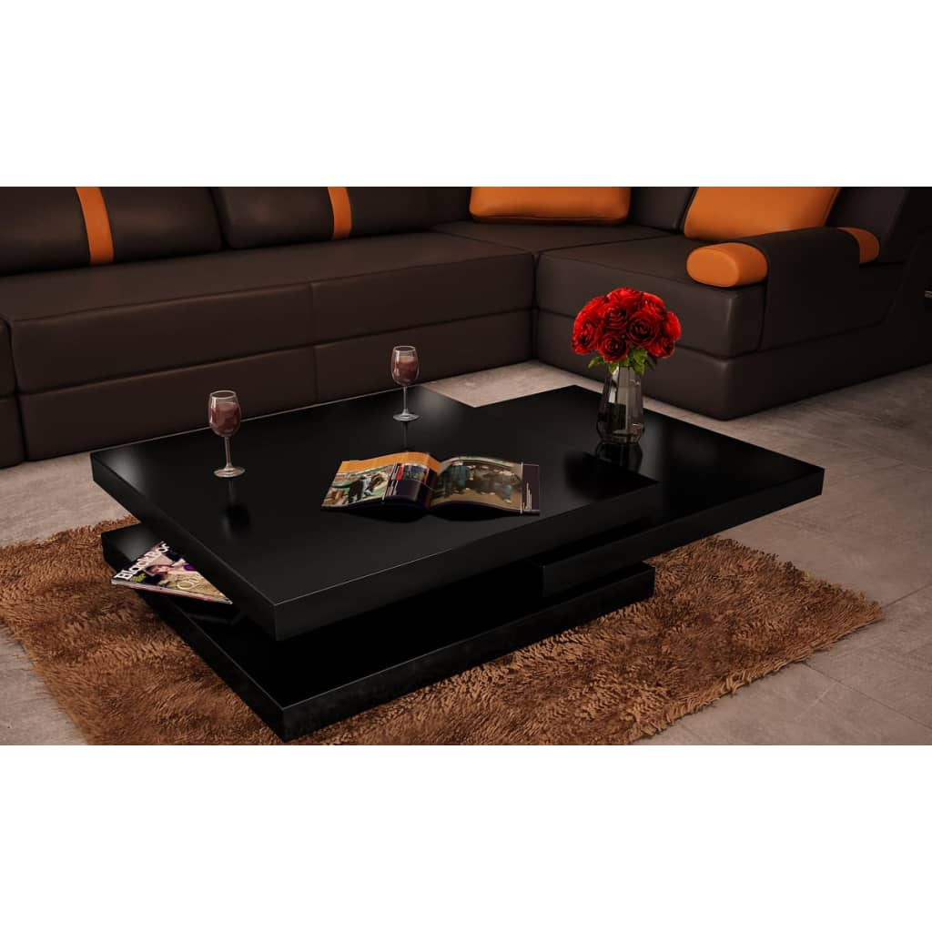 Tables Basses De Salon Pliantes Coffee Table 3 Layers Black Square Metal Legs Vidaxl Co Uk