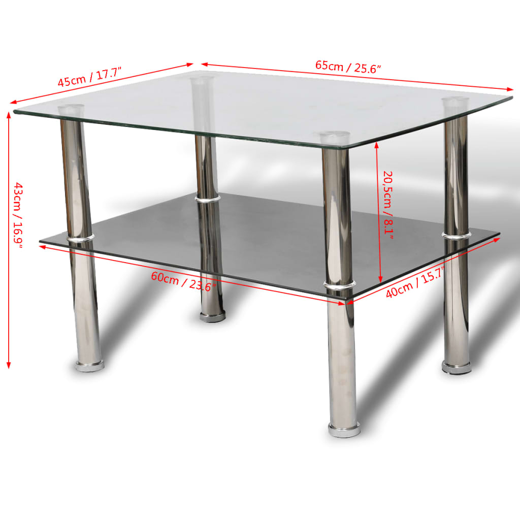 Table Appoint Verre Vidaxl Table Basse En Verre 2 Plateaux Rectangulaire Tables D Appoint Salon