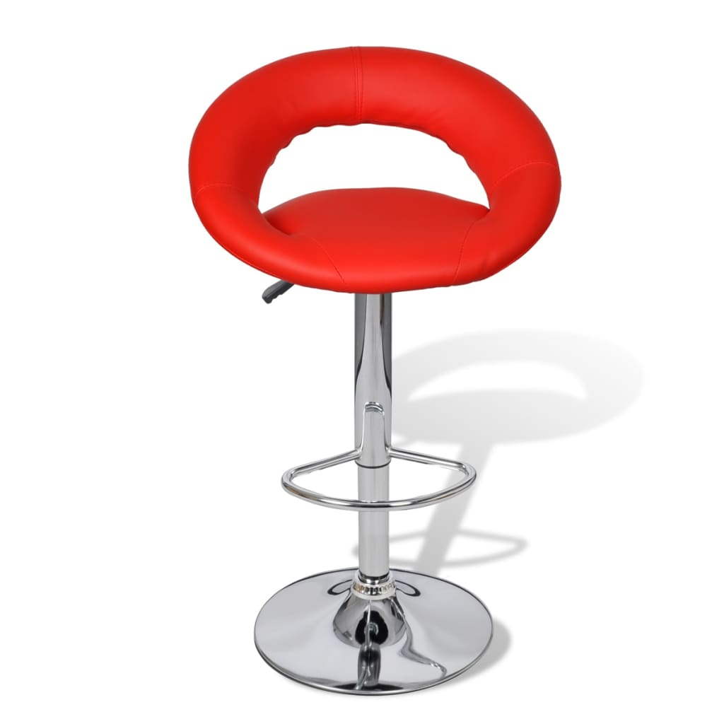 Lot De 2 Tabourets De Bar Clark Lot De 2 Tabourets Rouges Design Moderne Contreplaqué Fer Repose Pied