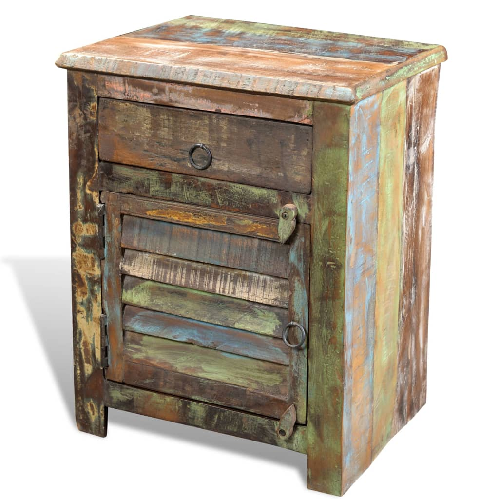 Möbel Gehrmann Reclaimed Wood Cabinet Multicolour End Table 1 Drawer 1