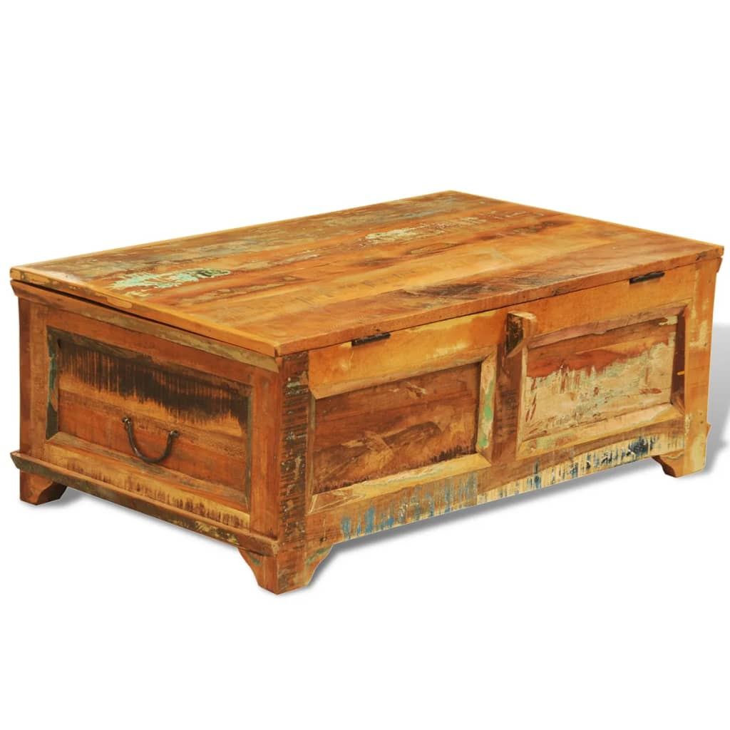 Wood Coffee Table With Storage Reclaimed Wood Storage Box Coffee Table Vintage Antique