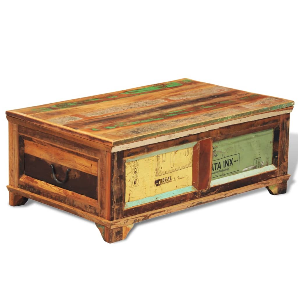 Coffee Wood Table Reclaimed Wood Storage Box Coffee Table Vintage Antique