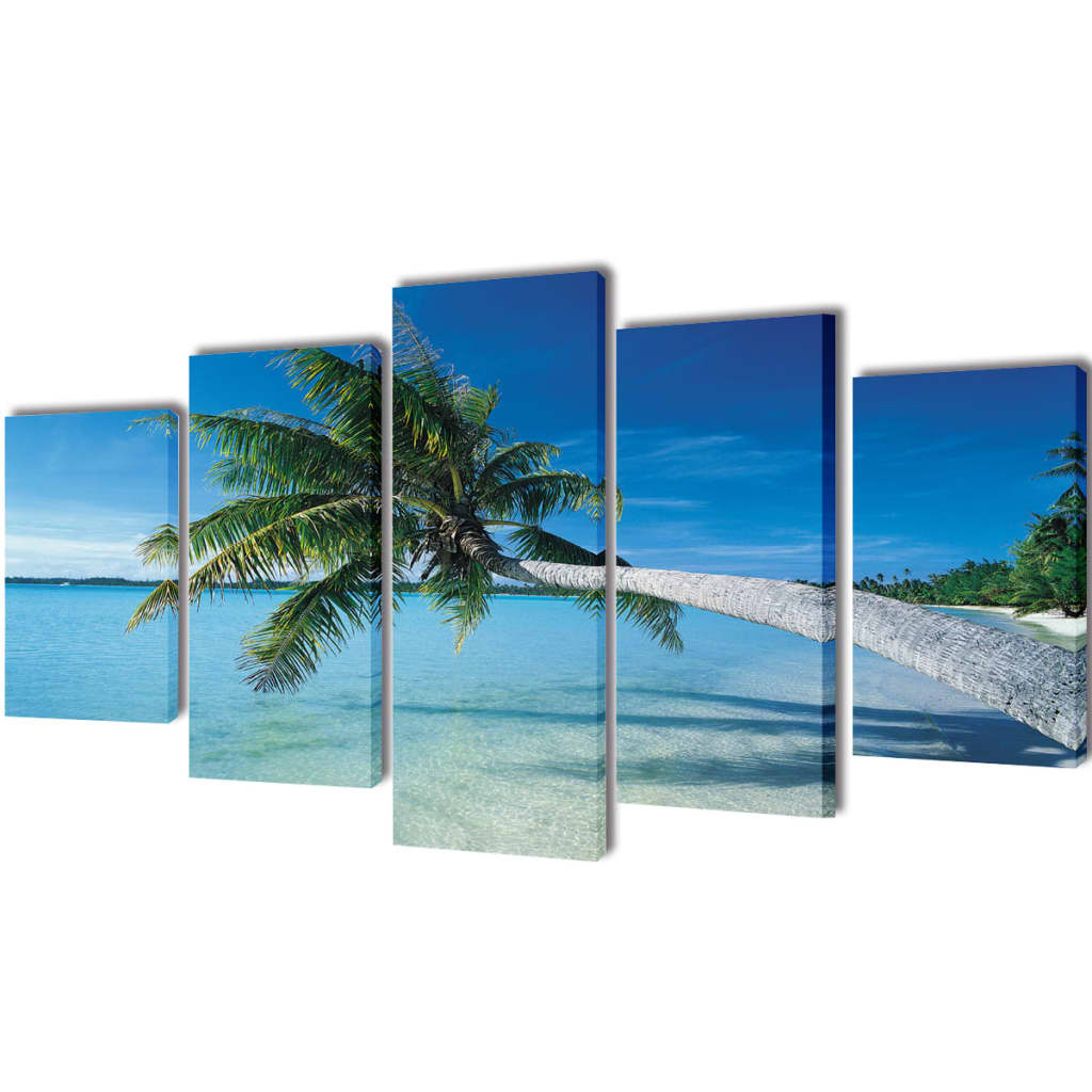 Canvas Wall Prints Canvas Wall Print Set Sand Beach With Palm Tree 100 X 50