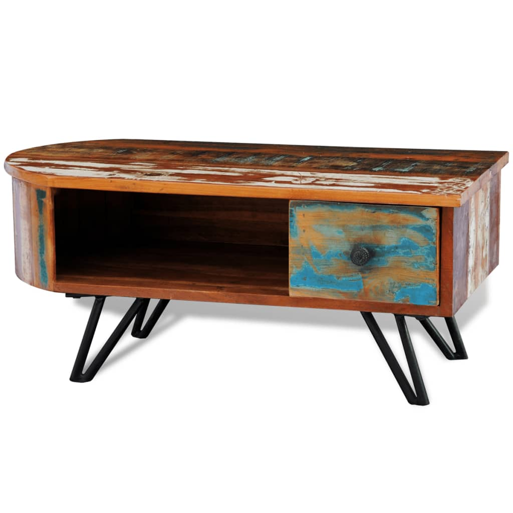 Cdiscount Meuble Tv Industriel Reclaimed Solid Wood Coffee Table With Iron Pin Legs