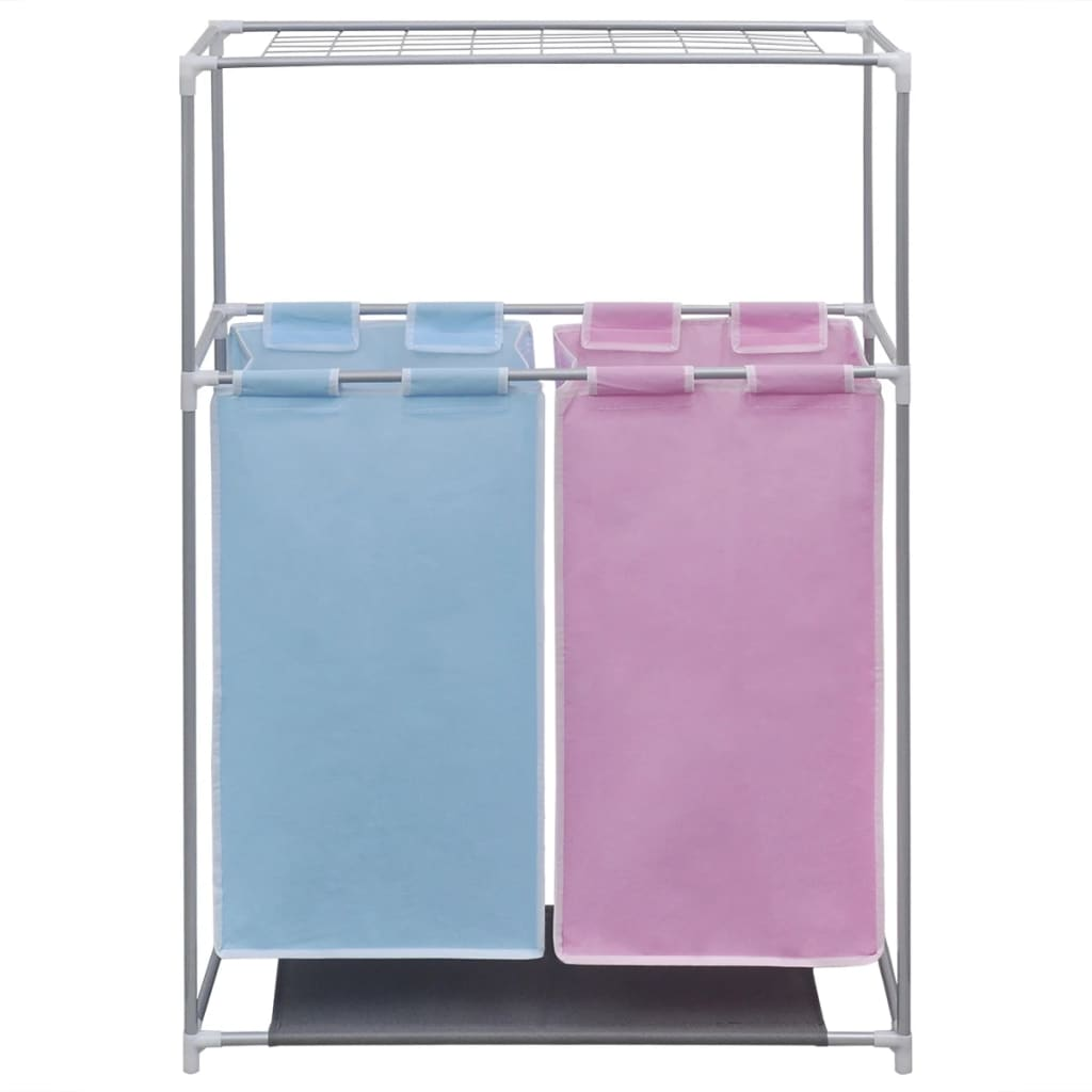 Laundry Basket With Shelves 2 Section Laundry Sorter Hamper With A Top Shelf For