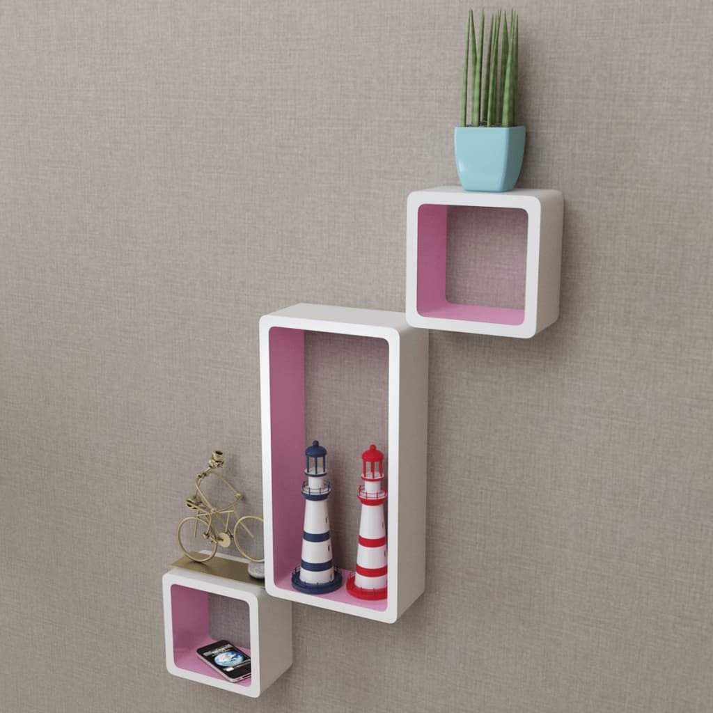 3 White Pink Mdf Floating Wall Display Shelf Cubes Book