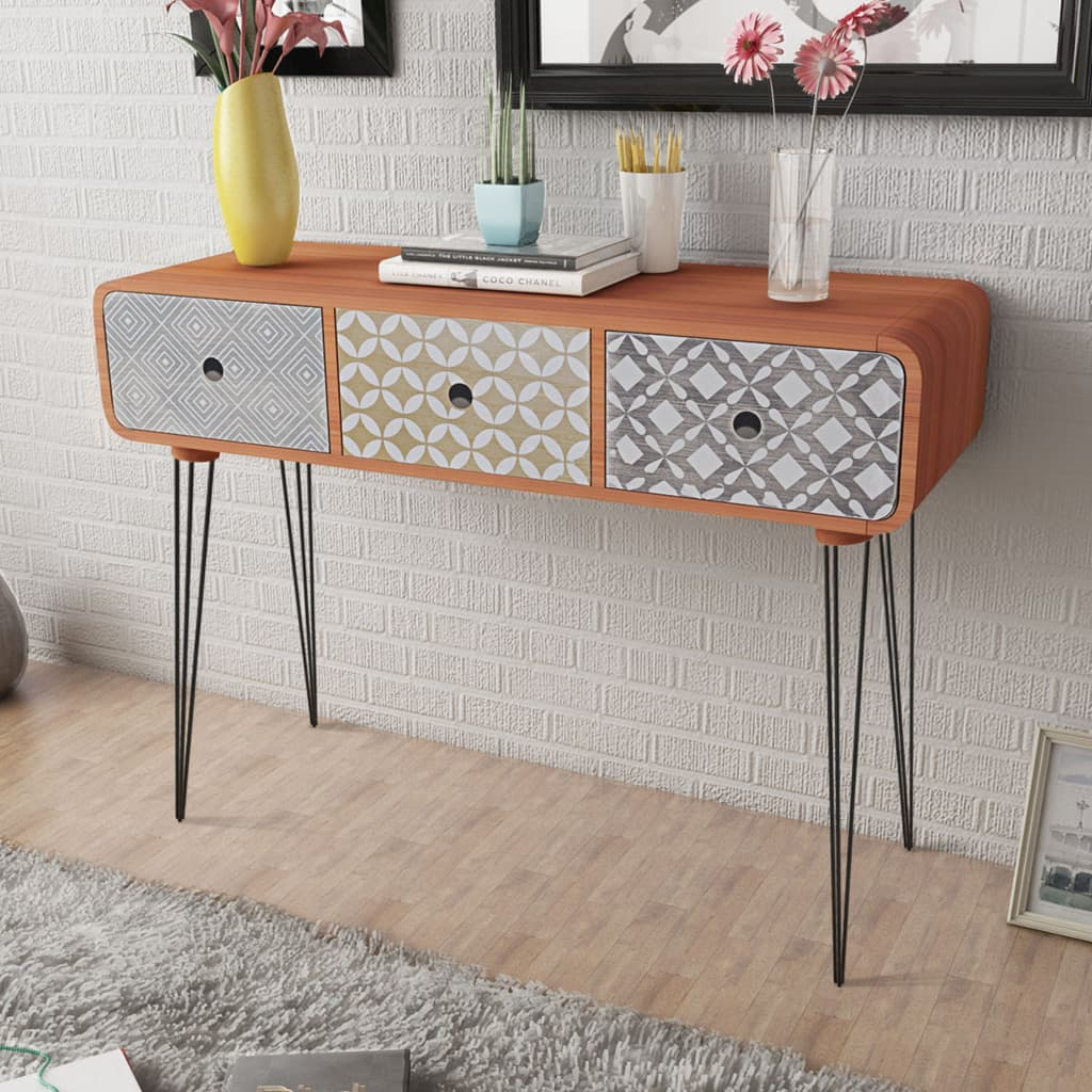 Sofa Side Table With Drawer Side Cabinet Console Table With 3 Drawers Brown Vidaxl