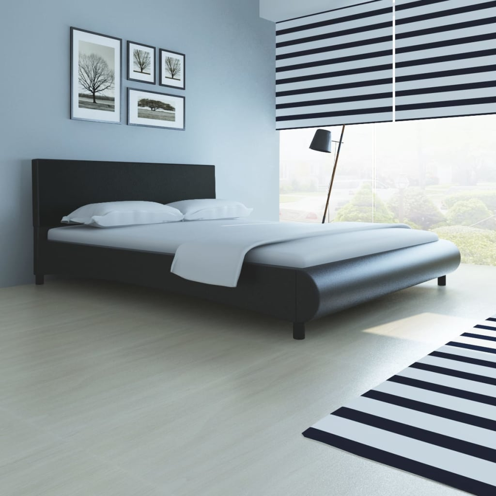 150 X 200 Bed 5ft King Size 150x200 Cm Artificial Leather Black Bed