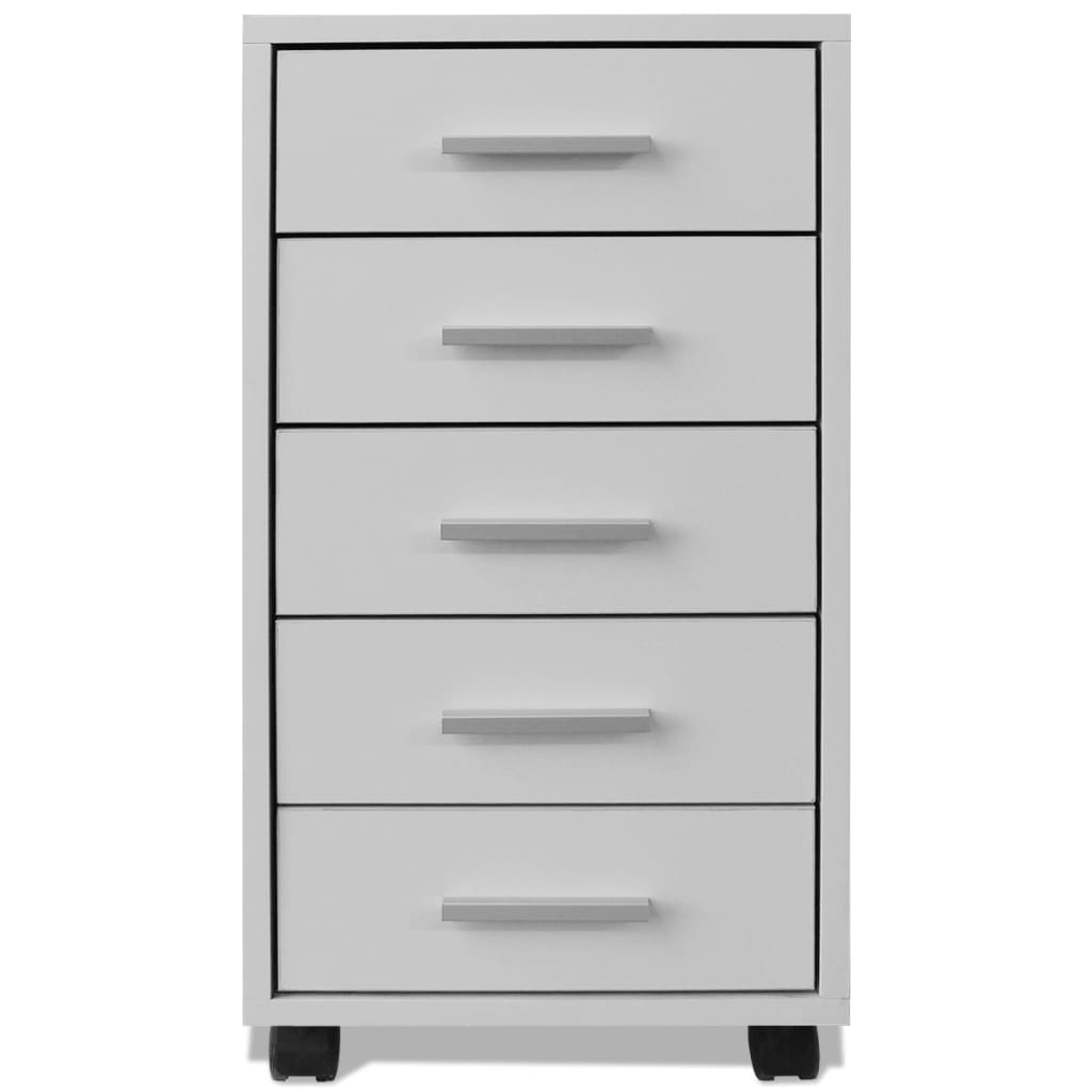 Drawer Units Vidaxl Office Drawer Unit With Castors 5 Drawers White
