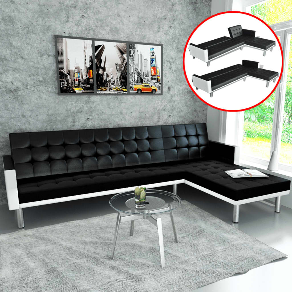 Leather Lounge Details About Vidaxl L Shape Sofa Bed Black Artificial Leather Lounge Suite Couch Seating