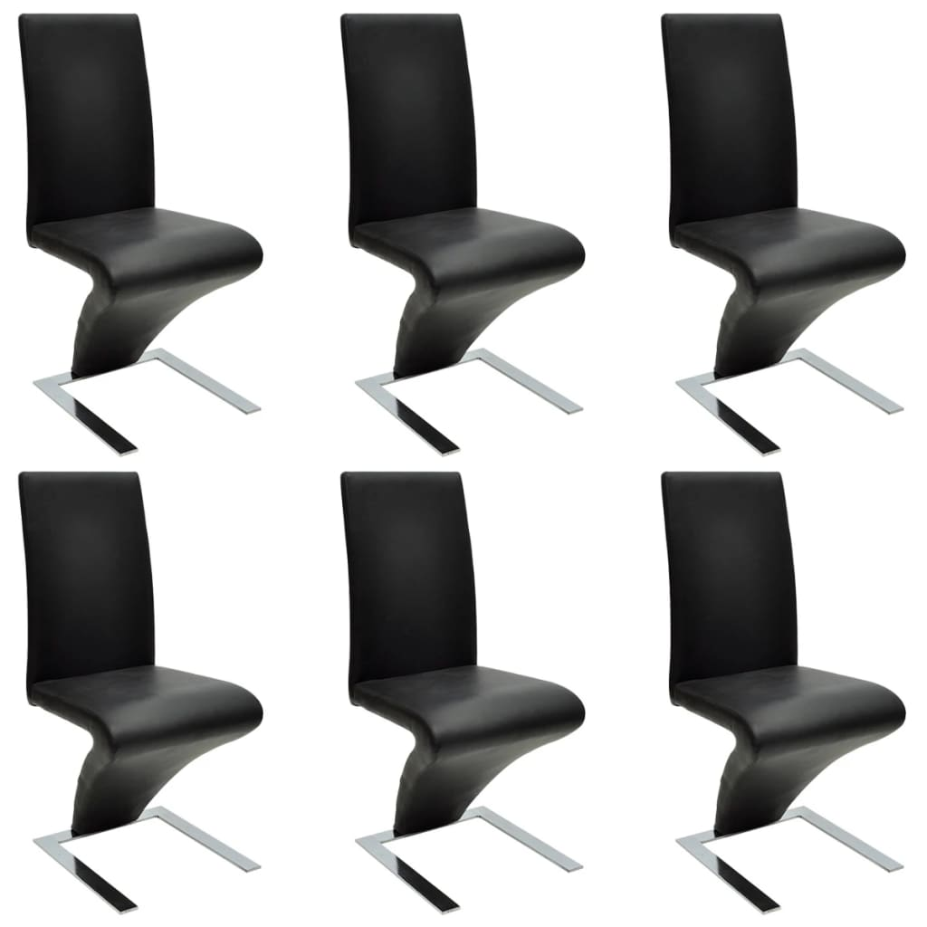 Chaise Zig Zag Dimensions 6 Pcs Artificial Leather Iron Black Dining Chair Zigzag