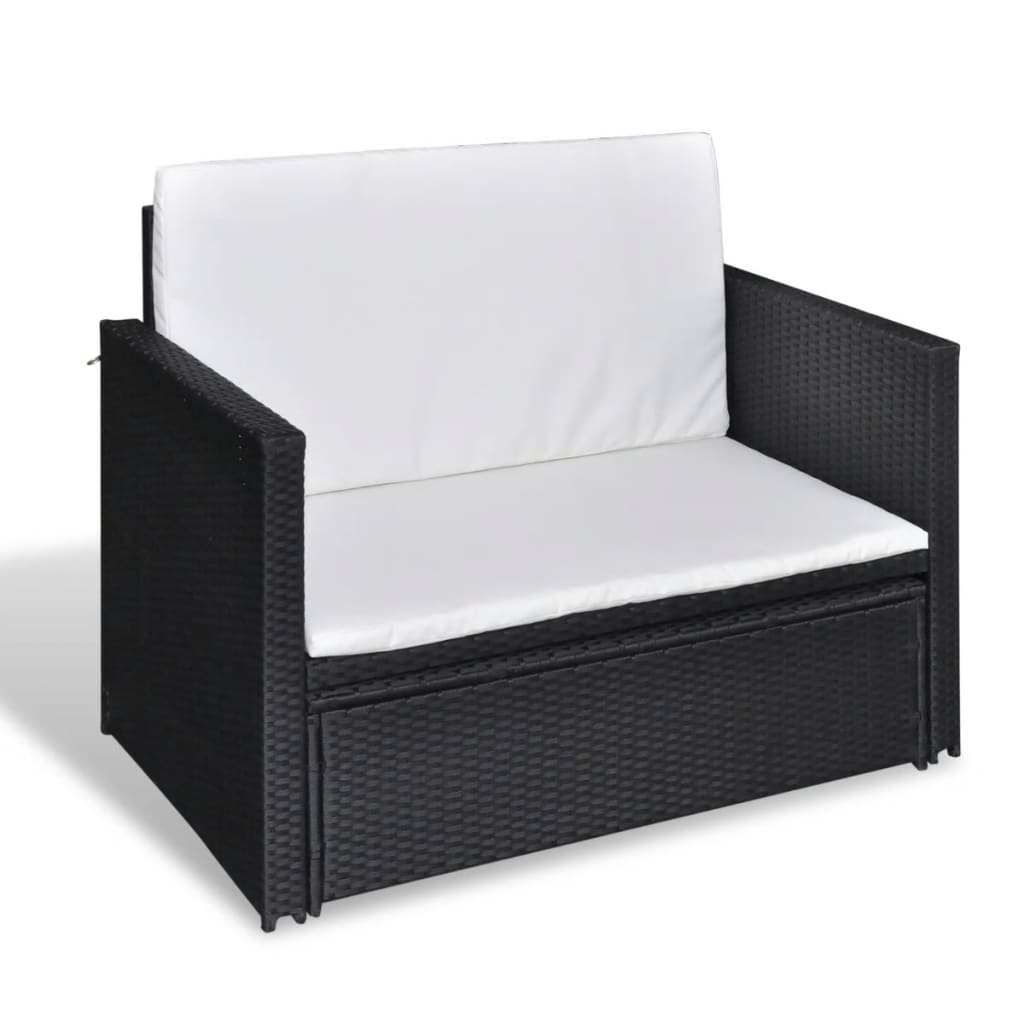 Black Rattan Sofa Uk Folding Rattan Sofa Bed 3 In 1 Black Vidaxl Co Uk