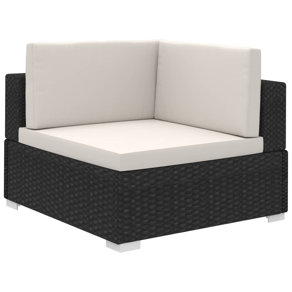 Vidaxl Outdoor Lounge Set 15 Pieces Black Poly Rattan