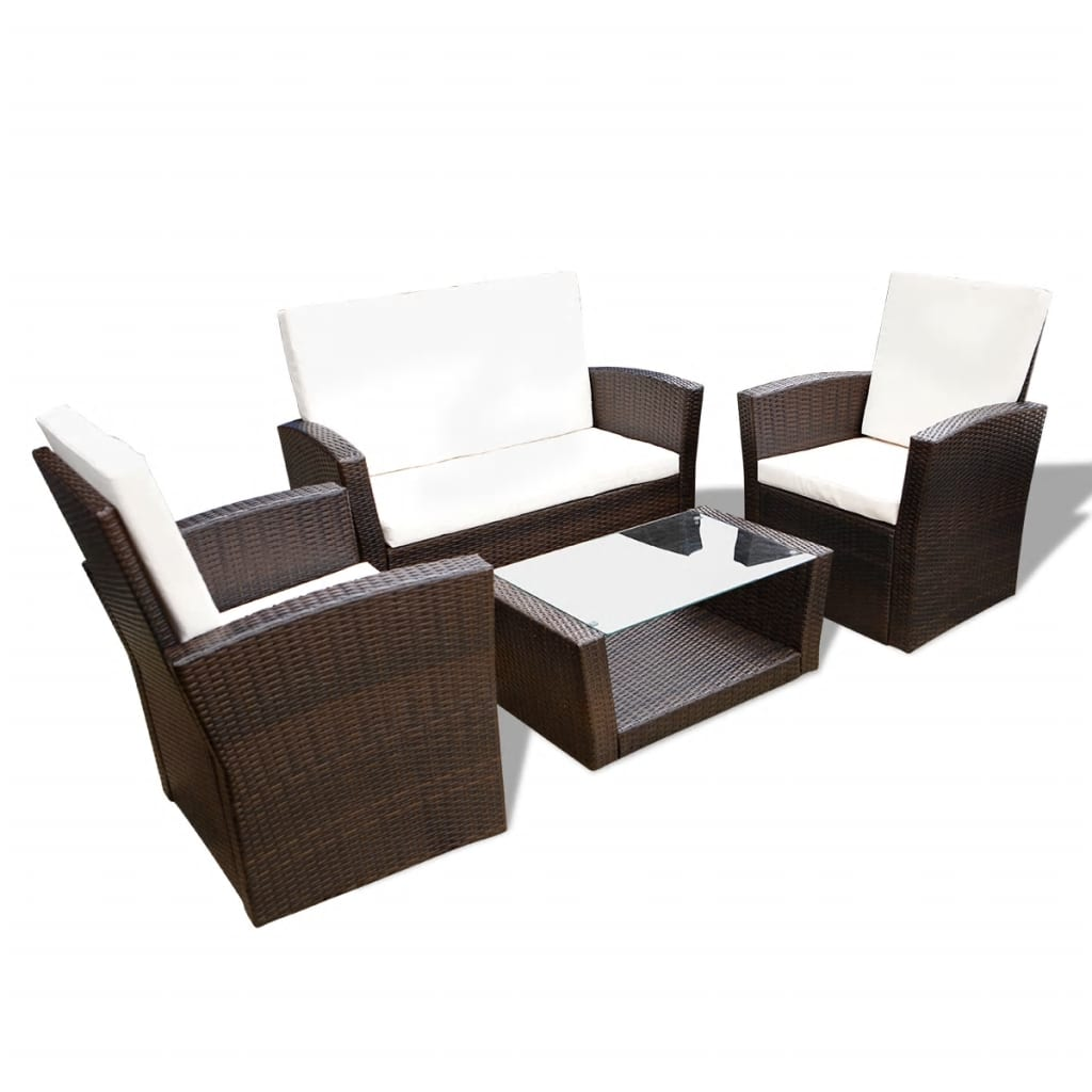 Lounge Set Rattan Vidaxl Brown Outdoor Poly Rattan Lounge Set With Cushions