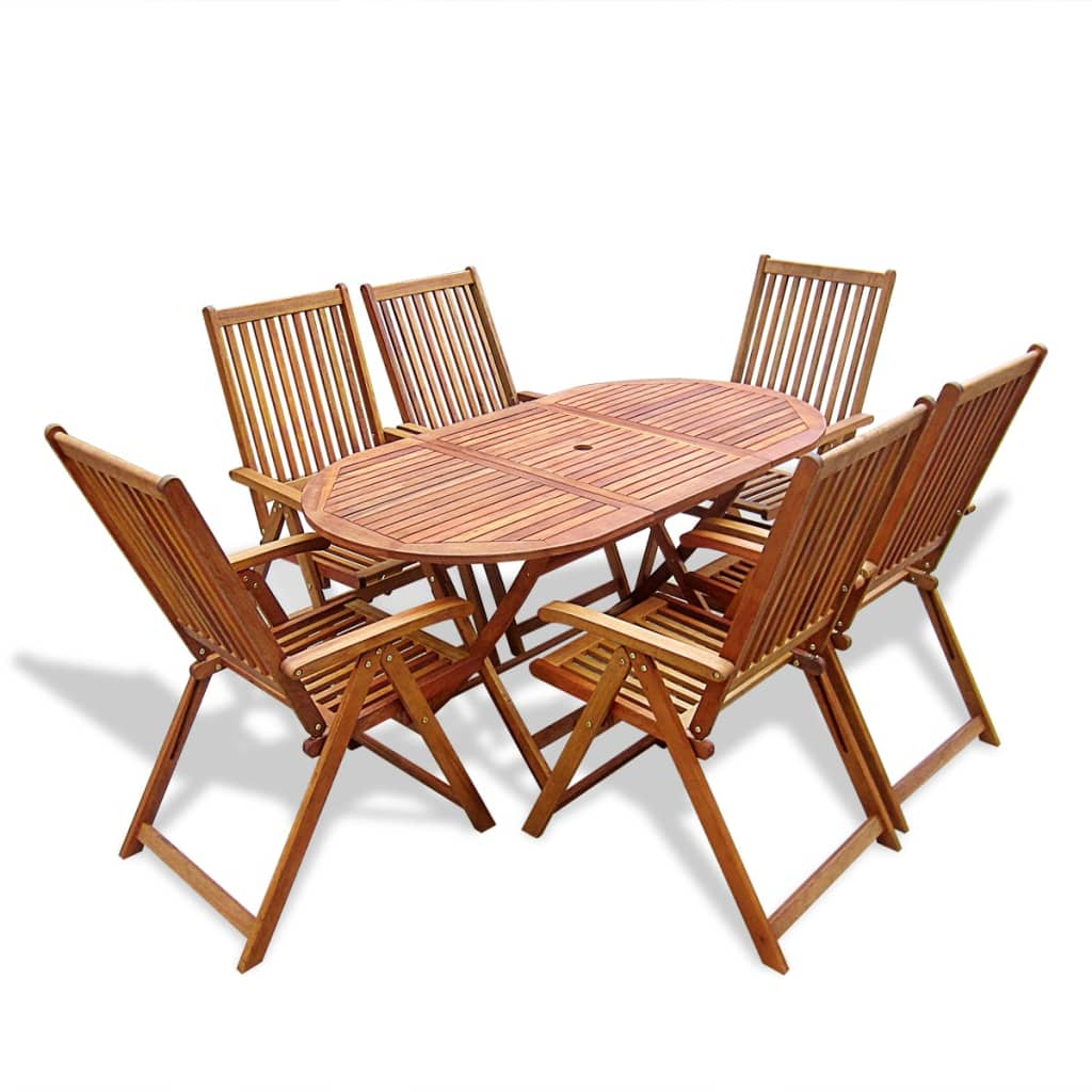 Adjustable Dining Table Set Vidaxl Wooden Outdoor Dining Set 6 Adjustable Chairs 43 1