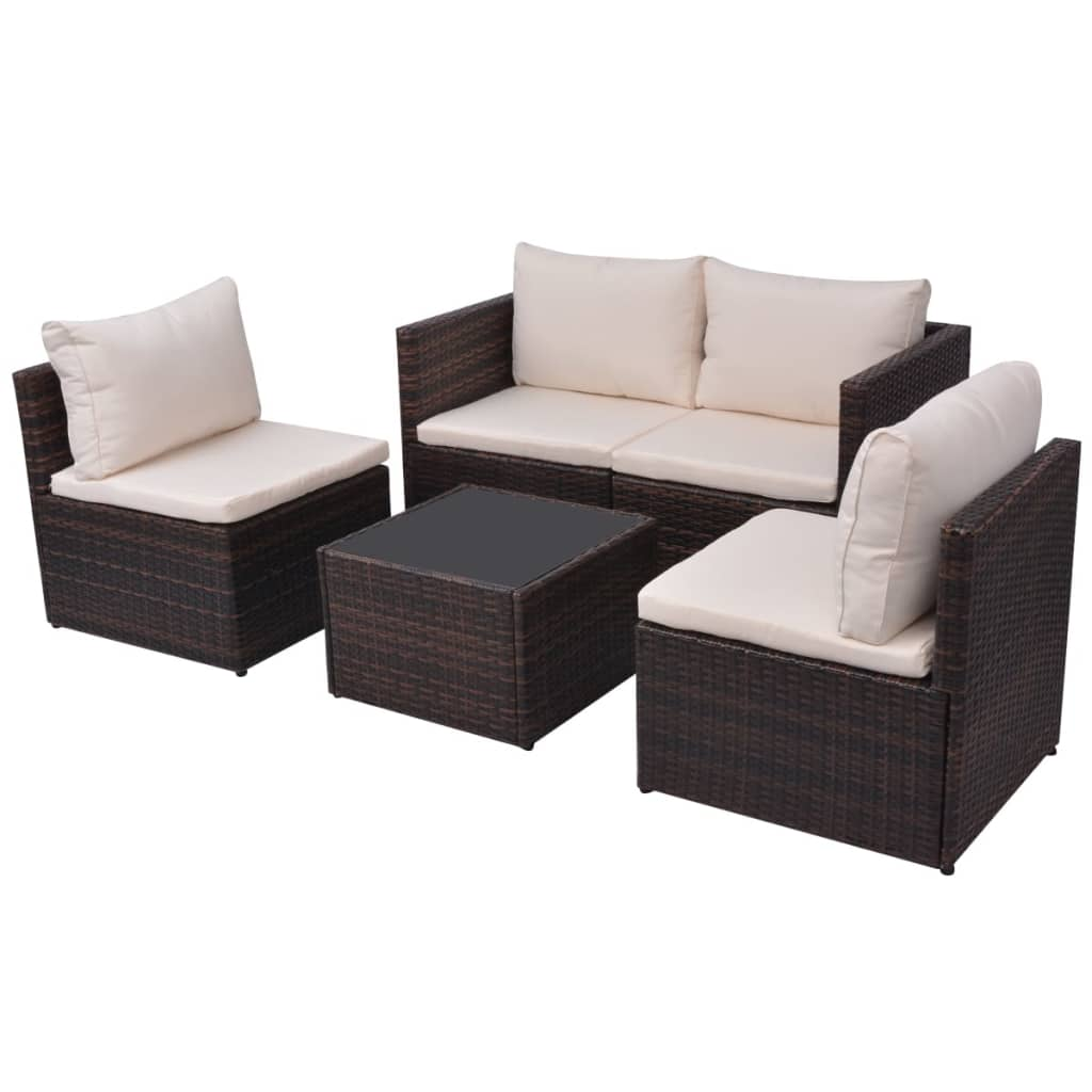 Sofa Set Action Vidaxl 13 Piece Garden Sofa Set Poly Rattan Brown Vidaxl
