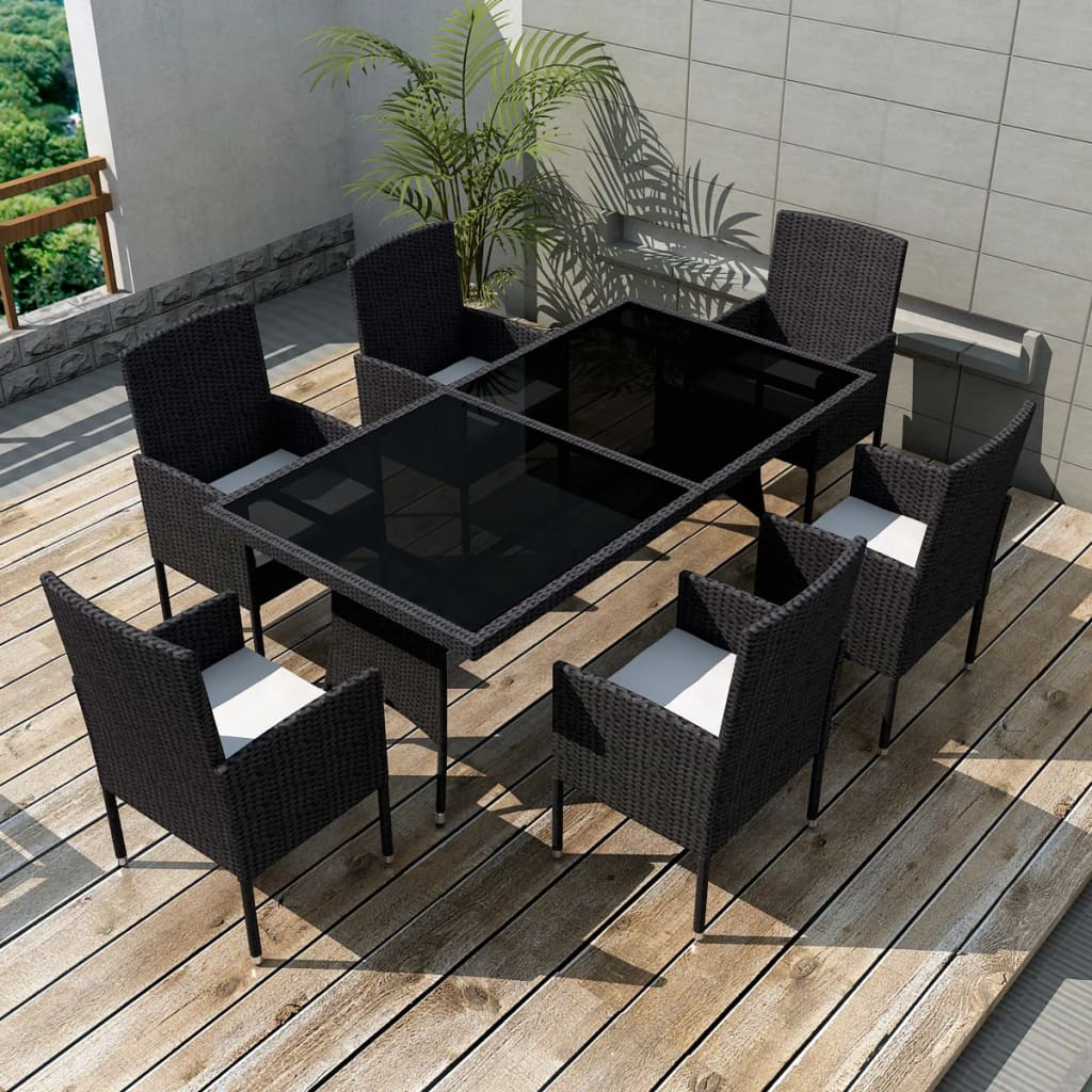 Outdoor Essgruppe Outdoor Dining Set Poly Rattan Wicker Black Garden Seater 6 Chair Table