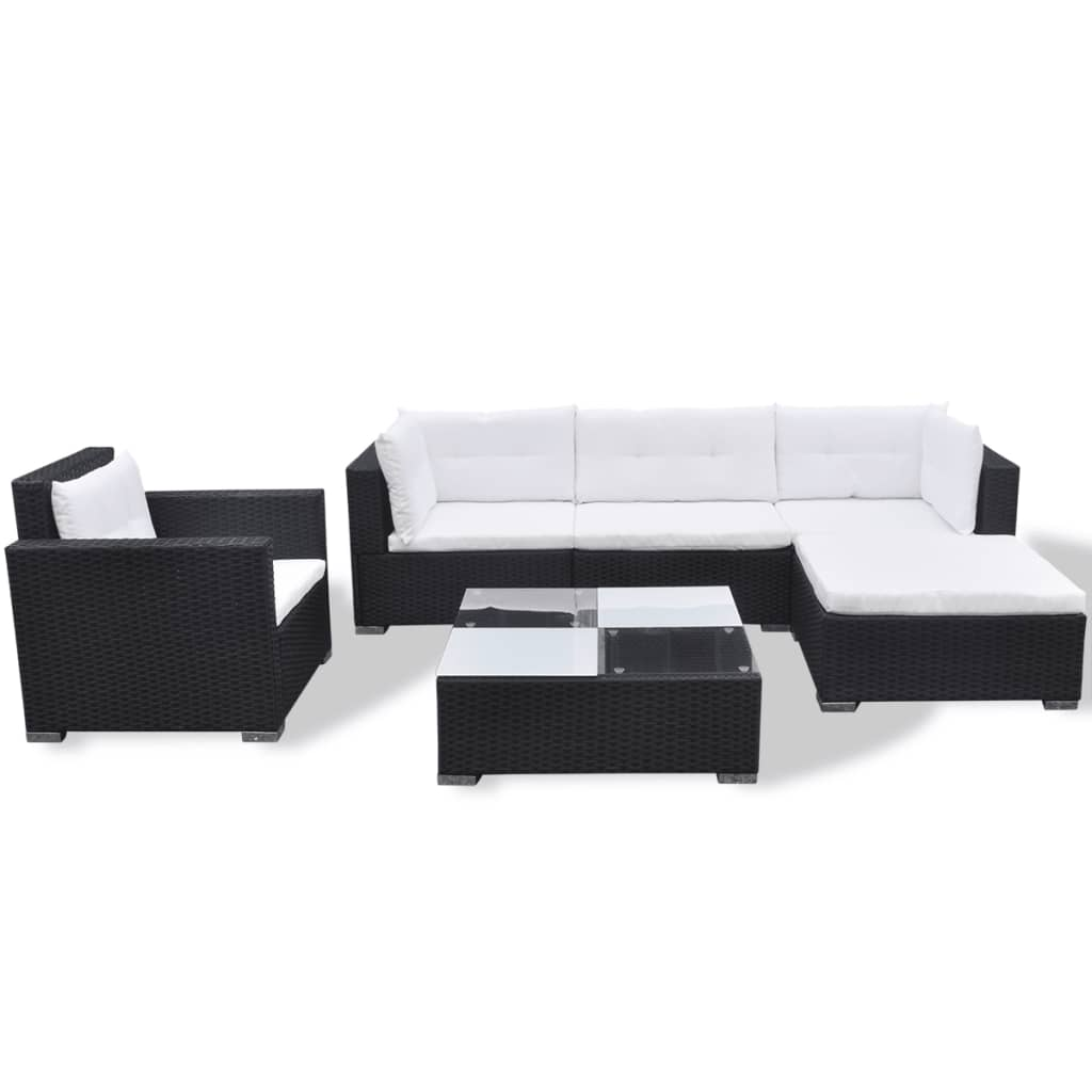 Vidaxl Garden Lounge Set 17 Pieces Poly Rattan Black