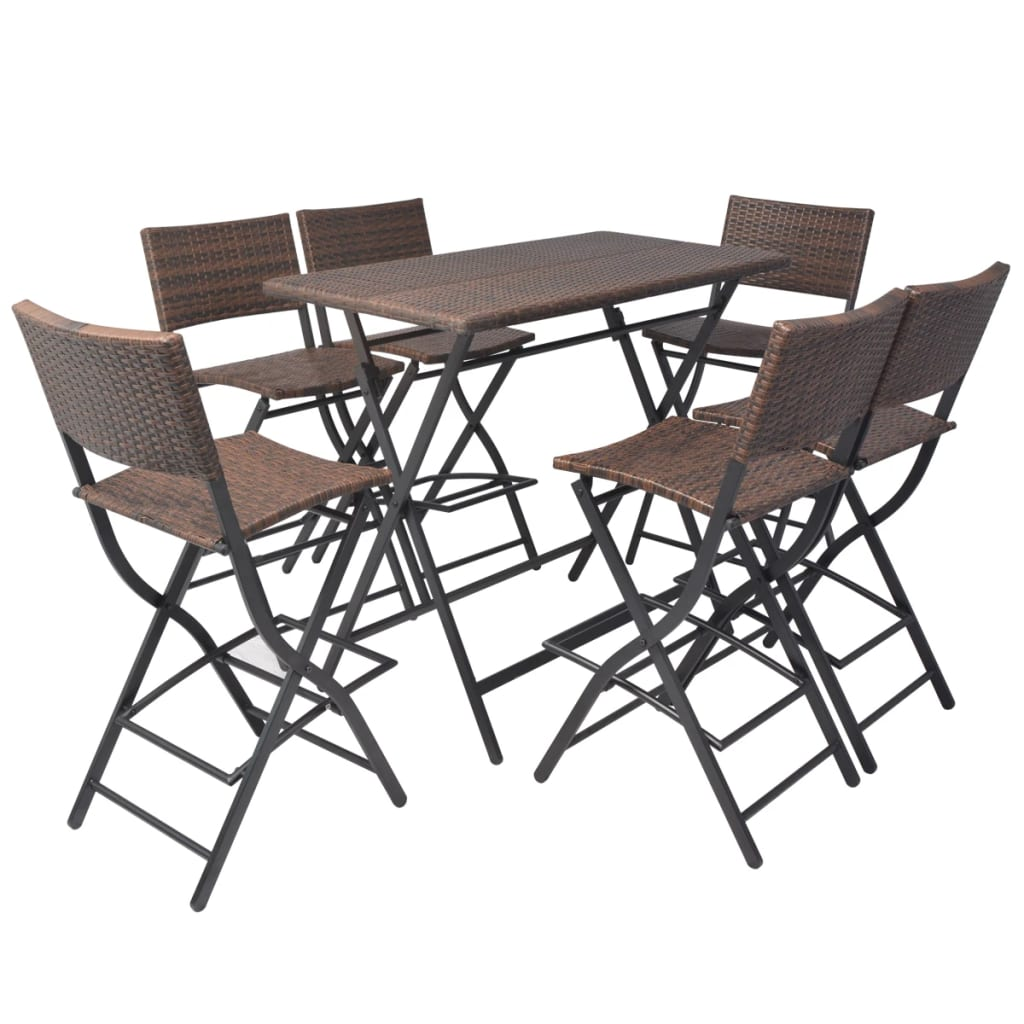 Salon Rotin Vidaxl Ensemble De Bar D Extérieur Poly Rotin 7 Pcs Marron Salon De Jardin