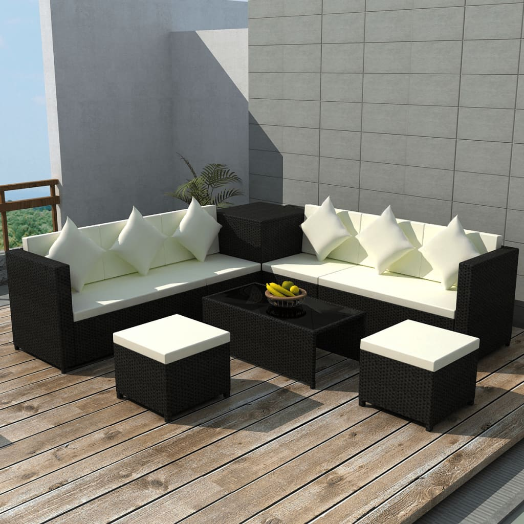 Rattan Sofa Set With Storage Vidaxl Patio Wicker Rattan Set Storage Box Outdoor Lounge